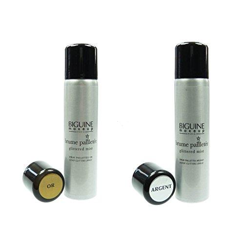 Biguine Glitzerspray Silber + Gold Körper Haar Spray 2 x 75ml -...