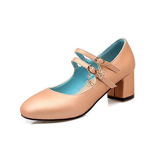 VogueZone009 Femme Boucle Carré à Talon Correct Pu Cuir Couleur Unie Chaussures Légeres Abricot