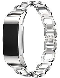 Correa Fitbit Charge 2,Culater Pulsera Ajustable Acero Inoxidable Pulsera Reloj Inteligente Banda Plateado
