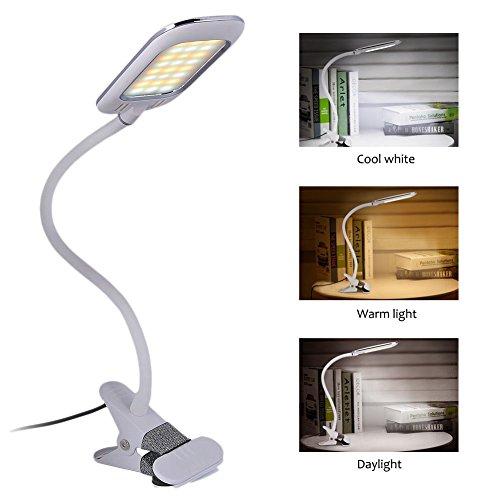 LED Klemmleuchte, Augepflege Bettleuchte mit 10 Helligkeitstufe und 3 Lichtfarbe, 360° Flexibel Schwanenhals Leselampe für Schlafzimmer Büro, 1,5m USB Kabel & Europa Netzteil (Weiß+Neu Design)