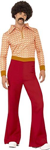 Smiffys, Herren 70er Jahre Typ Kostüm, Oberteil und Hose, Größe: XL, 43189 (70er Jahre Disco Kleidung)