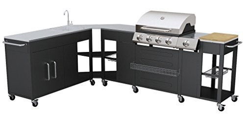 VidaXL 40428 Gas Barbecue-Barbecues & Grills (Cooking Station, Black, Stainless Steel, Rectangular, Stainless Steel)