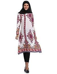BOZEVON Vestido con túnica Estampada musulmán - Vestido Midi de Longitud Suelta con Cintura Holgada(