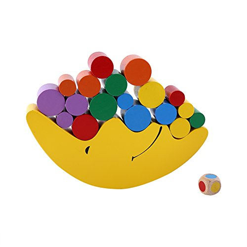 Bloques de equilibrio coloridos de la luna de madera del juguete para los niños del niño, bloques de construcción educativos del aprendizaje temprano Regalo de los niños del cumpleaños(amarillo)