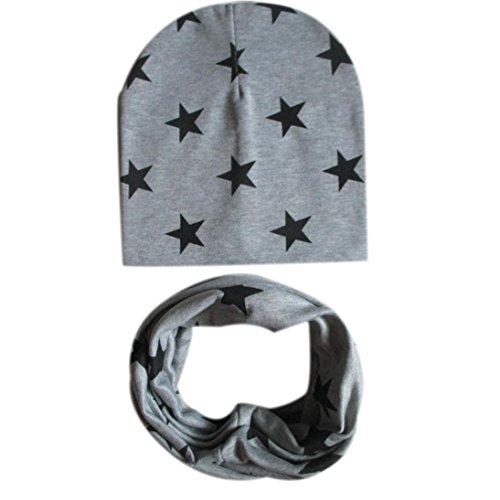 Ularma Baumwolle Sterne Mütze Schal Set für Baby Mädchen Junge Herbst Winter Warm (Grau)