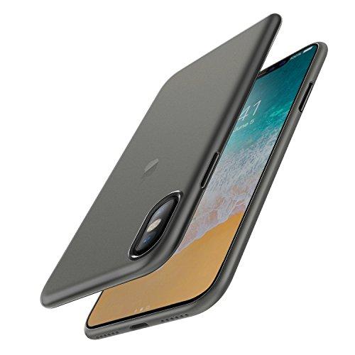 Preisvergleich Produktbild iPhone X Hülle Case, [Unterstützt kabelloses Laden (Qi)] EasyAcc Dünn Transparent 0.45mm PP Handyhülle Cover Anti-Kratzer Schutzhülle leichter Tasche für iPhone X - Halb Transparent Schwarz