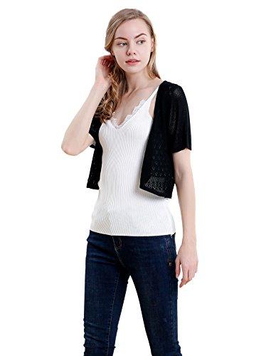 Vero Viva Women Short Sleeve Lightweight Knitwear Cropped Tank Cardigan Sweaters