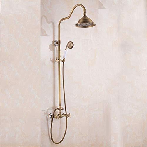 GWFVA Badezimmer-Brausebatteriesatz, Duschset im europäischen Retro-Stil, Keramikbasis mit Kürbis, Multifunktions-, Kupfer-, Heiß- und Kaltduschkopf