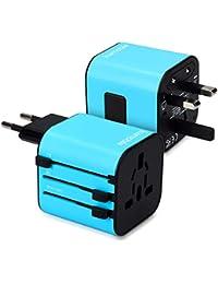 kwmobile Universal Reiseadapter für 150 Länder - Stromadapter Stecker für Europa UK Australien USA - Universeller Weltreise Reisestecker - Blau