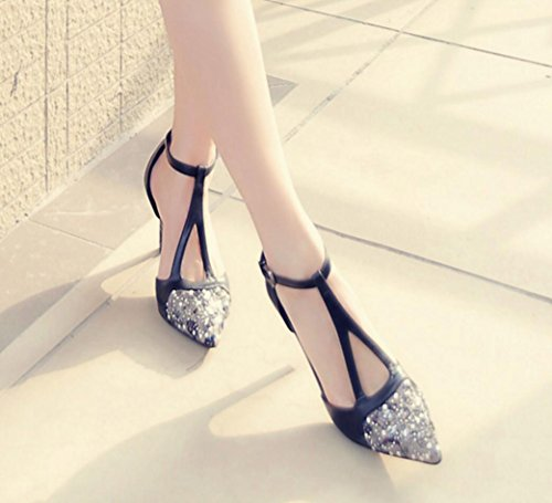 ZCH Nuovo Donna puntatore tacchi vera pelle diamante tacchi alti scarpe fine con donna scarpe / pattini del partito Black