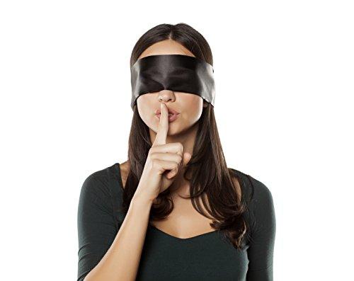 Original MySecretPleasure Satin Augenbinde mit diskretem Beutel - blickdichte hochwertige SM Fetisch Augenmaske in Schwarz / Rot - BDSM Spielzeug für Paare - 150 cm lang