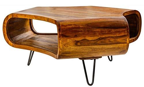 Casa Padrino Designer Massivholz Sheesham Couchtisch Natur Braun 90cm x H.38cm - Salon Wohnzimmer Tisch - Retro Couchtisch
