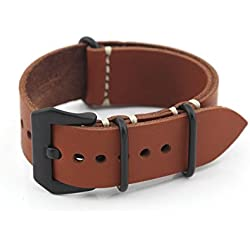 Owfeel Coffee Color Leather Replacement Watch Band Strap Belt 22mm