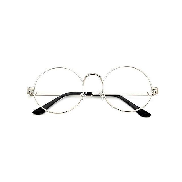 17ae615f0d6e3d TININNA Unisexe Rétro Rondes Metalique Cadre Frame Lunettes Vintage Verres  Transparent Style Aviateur Pilote Eyeglasses pour ...