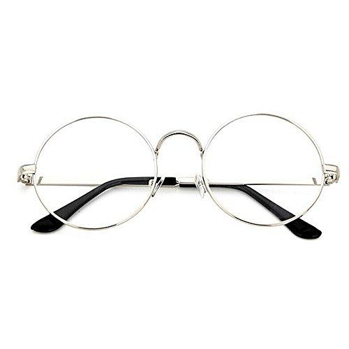 Unisex Retro Runde Metall klare Linse Brille Mit Fensterglas Damen Herren Brillenfassung,Dekogläser Klassisches Rund Rahmen Golden Muster Bein Mode Damen/Herren Brillen (Silber)