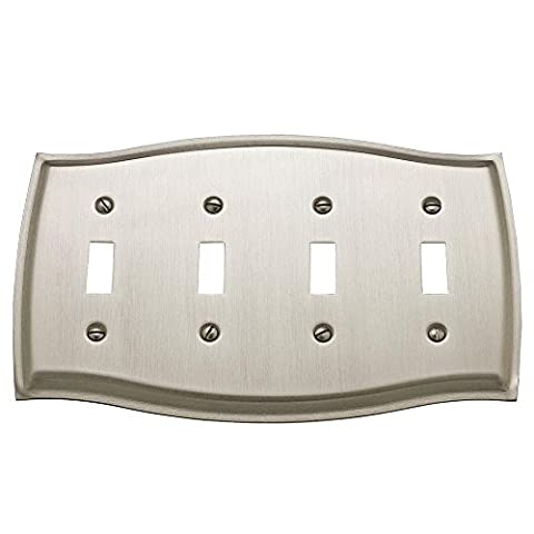 Baldwin 4782.150.CD Colonial Design Quad Toggle Switch Plate, Satin Nickel by Baldwin