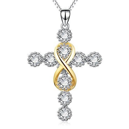 Kreuz Kette 925 Sterling Silber Zirkonia Infinity Kruzifix Anhänger Halskette für Damen 45cm