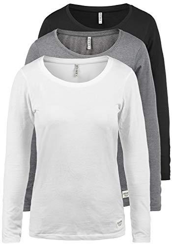 DESIRES Lavinia Damen Longsleeve Langarm Shirt Mit Rundhalsausschnitt 3er Pack, Größe:L, Farbe:3er-Box-3