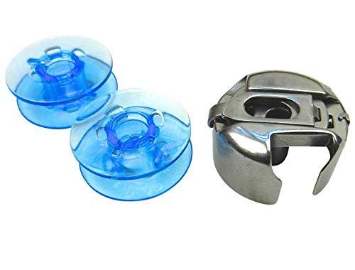 Spulenkapsel + 2 Blaue Kunststoff Spulen für Pfaff tiptronic Nähmaschine -