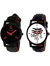 AJ Stylish Simple Black & White Dial Lord Shiva Combo Watch For - Men's & Boy's