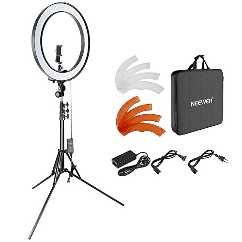 Neewer 18 Zoll dimmbares SMD LED Ringlicht Beleuchtung Set mit 200cm Ständer, Bluetooth-Empfänger, drehbarer Handy-Halter für Smartphone-Kamera-Portrait Make-up YouTube Video Aufnahme (Video-portrait)