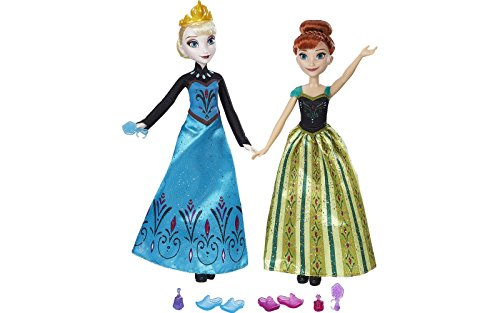 Muñeca Elsa y Ana Fiesta Coronacion Frozen Disney 27cm