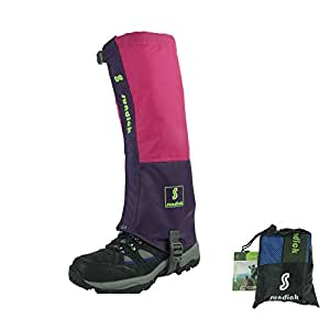 Sundick Alpinisme Guetres Waterproof Snow Gaiters Camping Guetres(rosered-purple)