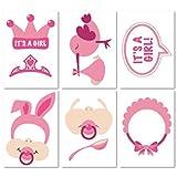 Kissherely Es Ist Ein Mädchen Baby Shower Photo Booth Requisiten Rosa Schöne Babyflasche Masken Mit Sticks Neugeborenen Mädchen Geschenk Party Favor