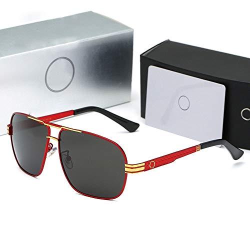Chengleilei Herren Vintage Polarized Driver Sonnenbrille UV-Schutz (Farbe : Red/gold)