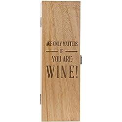 Grabado de madera caja de vino–divertido regalo de cumpleaños para hombres y mujeres–edad sólo importa si usted es vino