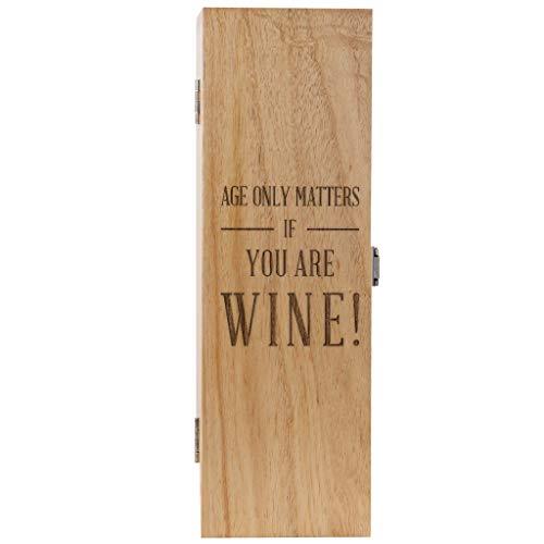 Gravierte Weinkiste aus Holz?Lustiges Geburtstagsgeschenk für Frauen und Männer?Alter spielt nur eine Rolle für Wein?(Weinflasche nicht im Lieferumfang enthalten)