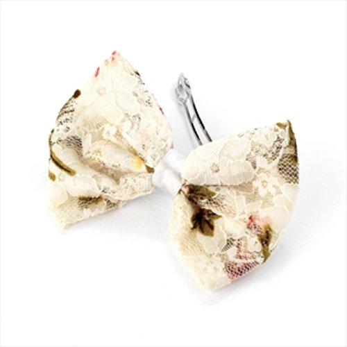 Barrette à cheveux noeud papillon en dentelle Motif floral Crème/Clip aj21413