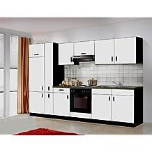 Küche Blacky II 300cm Küchenzeile / Küchenblock variabel stellbar in weiss / schwarz