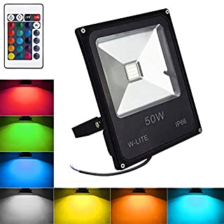 (Waterproof IP66) 50W RGB Led Floodlight Outdoor, Remote Control,Equate to 200W Halogen light, 16 Colour & 4 Modes, Dimmable. Coloured Changing Floodlight for Halloween, Party.(No Plug)