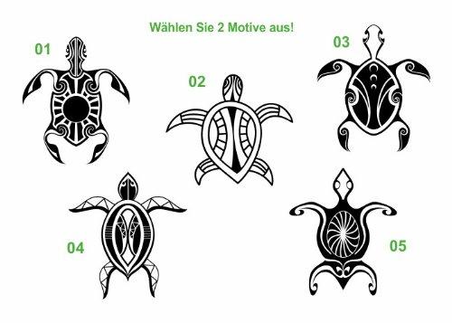 Wandtattooladen Wandtattoo - Maori Schildkröten Set Größe:55cm Farbe: Schablone -