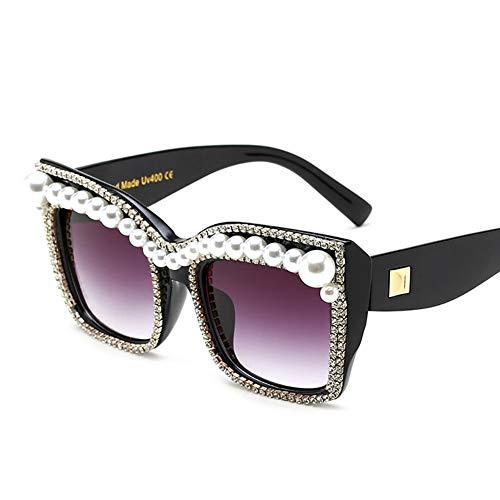 A$HC Die Sonnenbrille der Frauen überdimensioniert Perlenrasssteine glänzend winddichten UV-Schutz UV400 (schwarz)