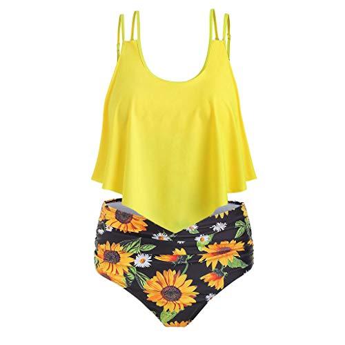 SHE.White Damen Bikini Set Ruffles Strap Zweiteiliger Badeanzug Große Größen Zweiteilige Strandkleidung Einfarbig Oberteil und Sonnenblume Drucken Bikinihose S-3XL