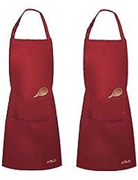 Viedouce 2 Piezas Delantales Impermeables Ajustables del Cocinero con Bolsillo Cocina Delantale de Cocina para Mujeres