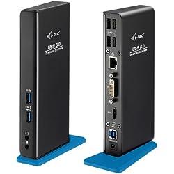 I-Tec Double station d'accueil USB 3.0 HDMI DVI prenant en charge les résolutions jusqu'à 2048 x 1152 Full HD avec port de rechargement USB, 4 ports USB 2.0, 2 ports Gigabit Ethernet USB 3.0, sortie audio et entrée microphone pour ordinateur portable et tablette