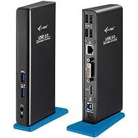 i-TEC USB 3.0 Dual replicador de puertos para computadoras portátiles y tabletas (1x HDMI, 1x DVI, Full HD+ 2048x1152, Gigabit Ethernet, 2x USB 3.0, 4x USB 2.0, audio), colores negro y azul+C10