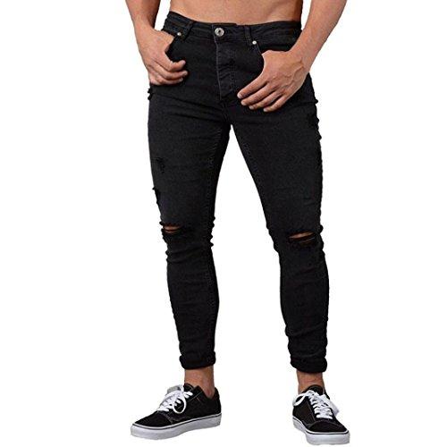 ❤️Pantalons Homme, Amlaiworld Homme Pantalon Slim Denim Biker Jean Skinny Effiloché Pantalon Trous (M, Noir)