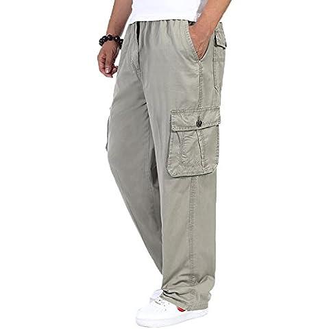 Algodón carga elástico cintura suelta de ajuste ocio pantalón de