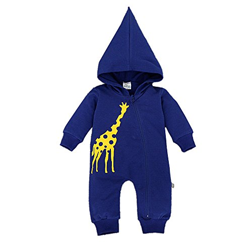 Bebone Baby Jungen Mädchen Tier Giraffe baumwollener Strampler, Blau, 0-3Monate