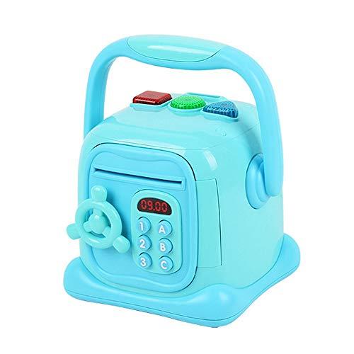 Sparen Sie Geld Coin Bank Box für Kinder Code Piggy Banks Mini ATM Elektronische Spardose Spardose für Kinder Passwortsperre Fall Mit Musik Licht Geschenk Spielzeug für Kinder (Farbe : Blau) -