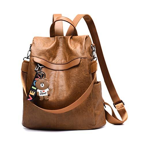 Maysurban Damen Rucksack Schultertasche Multifunktion PU Leder Designer Tagesrucksack Daypack Mädchen Diebstahlsicherung Schulrucksack mit Bär-Anhänger für Büro, Freizeit, Urlaub Braun