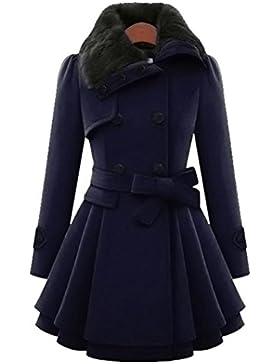 Lenfesh De las Invierno Elegante Chaqueta Abrigo largo de Mujer Grueso Parka de largo