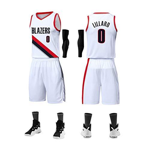 Herren Basketball Trikot Portland Trail Blazers # 0 Damian Lillard Unisex Basketball Training Jersey Sportswear ärmellos Style Atmung Kit Mesh Sport Jersey T-Shirt XL weiß