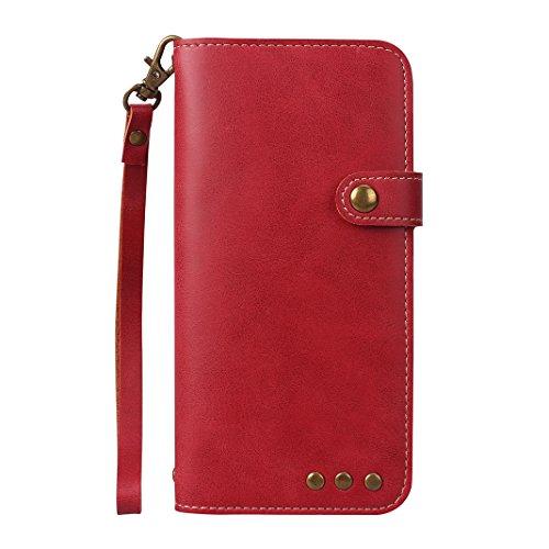 Galaxy S7 Edge G935 Hülle, Asnlove Premim Retro PU Leder Handy Schutzhülle für Samsung Galaxy S7 Edge Bookstyle Hülle Leder Wallet Tasche Flip Brieftasche Etui Schale mit Magnetverschluß Kratzfestes und Schmutzunempfindliches Funktion, Rot