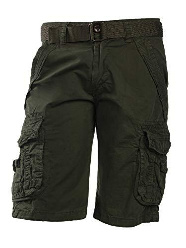 Trisens Herrenshorts Baumwolle Bermuda Cargo mit Gürtel, Größe:32/S, Farbe:Army Grün - Herren Kleid Hose