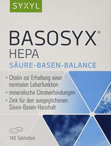 SYXYL Basosyx Hepa Tabletten / Nahrungsergänzungsmittel mit Cholin zur Erhaltung einer normalen Leberfunktion & Zink für den Säure-Basen-Haushalt / 140 Tabletten im Blister
